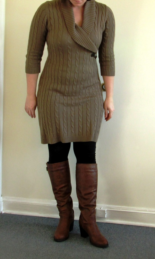 Outfit: Cable Knit Sweater Dress, Brown Boots