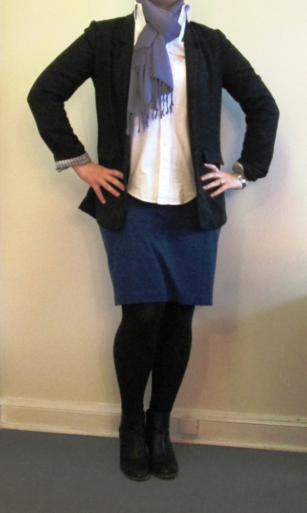 Black blazer, blue pencil skirt, black booties, white button down, scarf