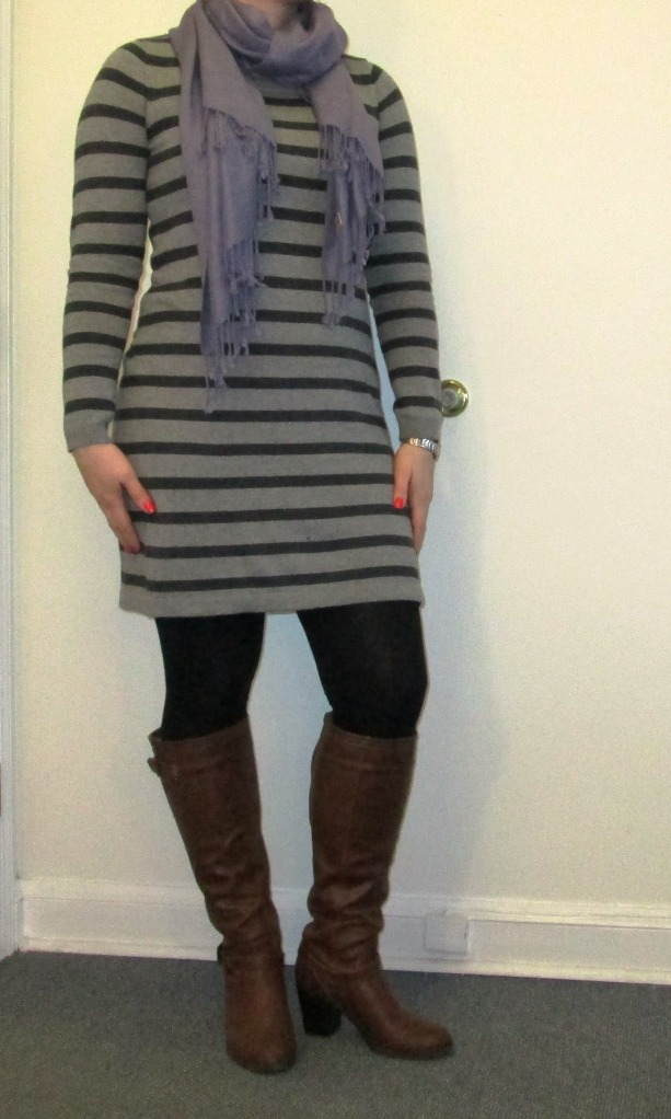Gray Striped Sweater Dress