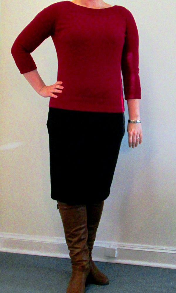 Cranberry sweater, Black dress, Brown boots