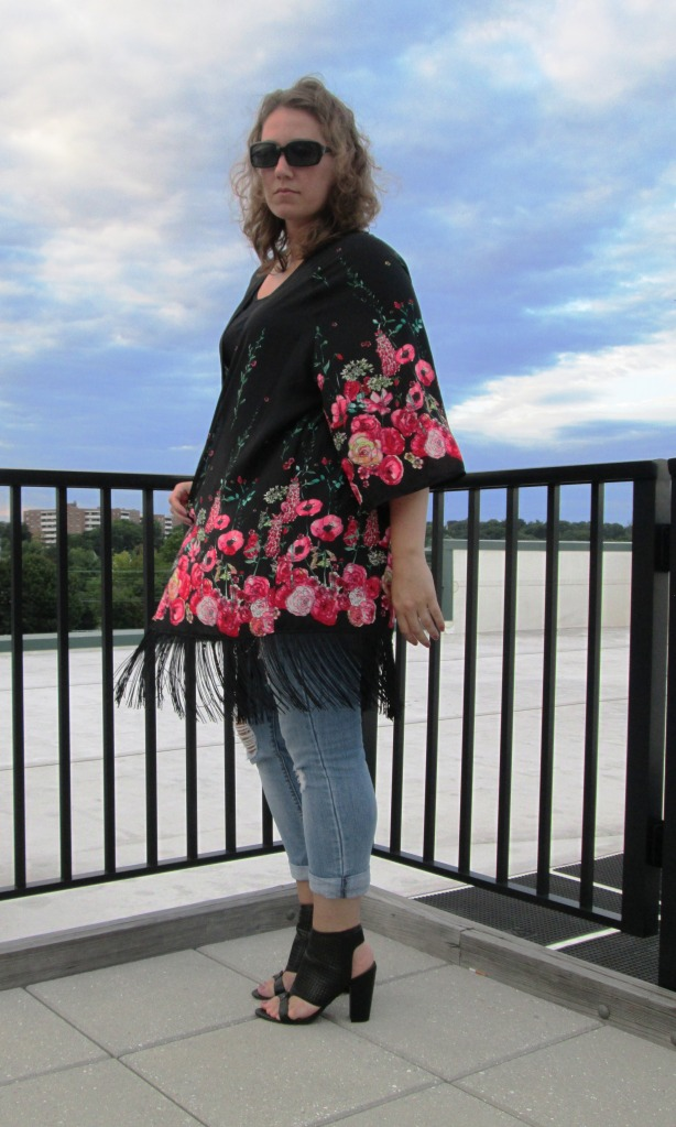 Kimono and Distressed Denim for Date Night