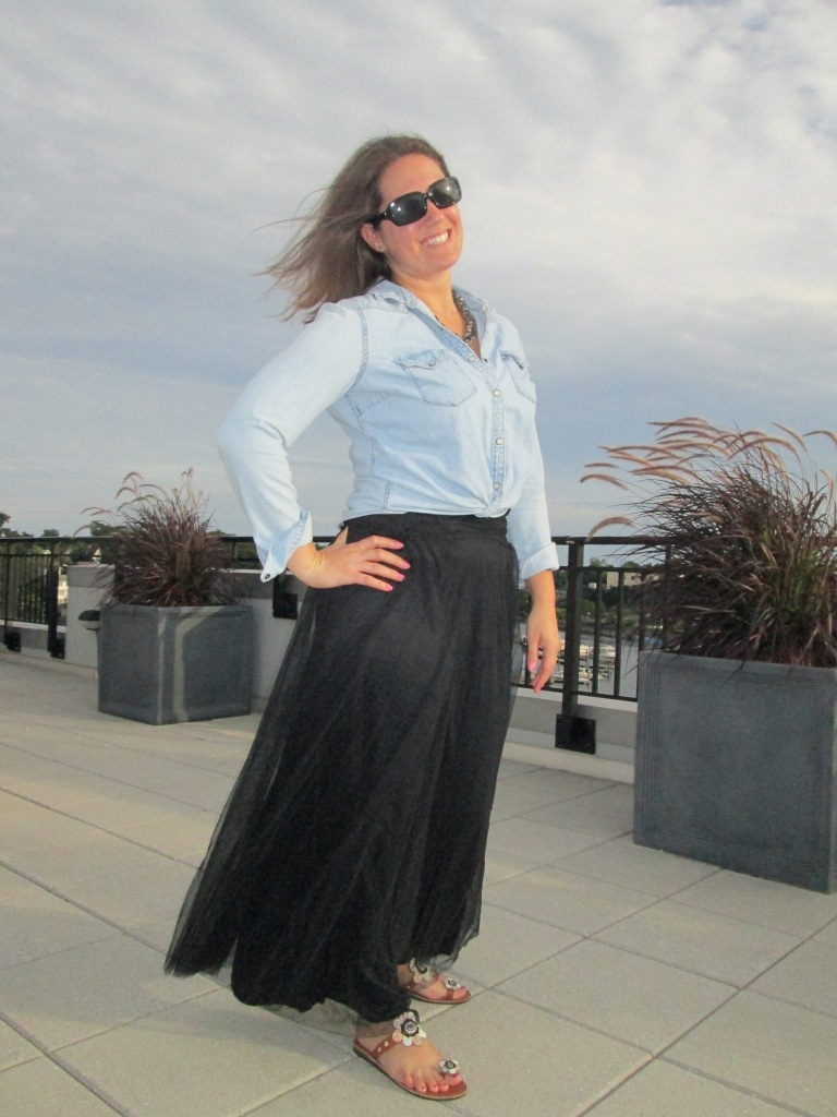 Black Tulle Maxi, Chambray Shirt